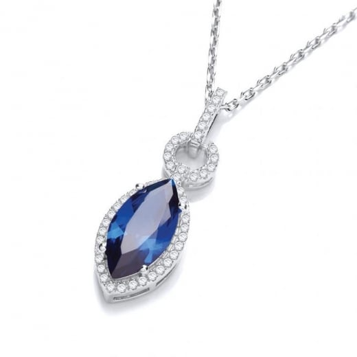 Cherubs Jewellery Sterling Silver Clear & Blue CZ Marquise Pendant
