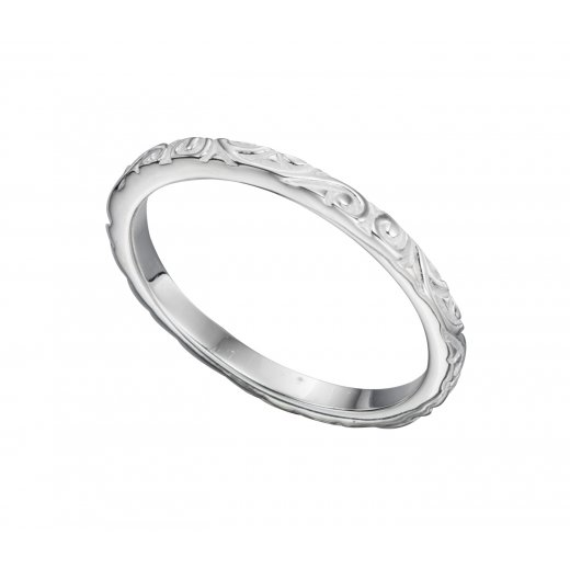 Cherubs Jewellery Textured Silver petterened band