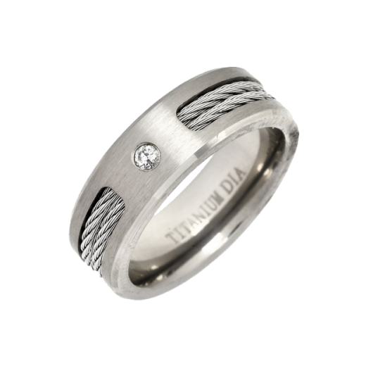 Cherubs Jewellery Titanium Cable Ring Diamond Set