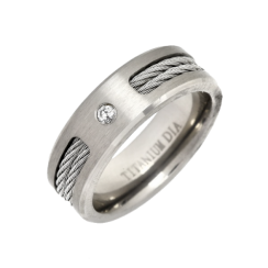 Titanium Cable Ring Diamond Set