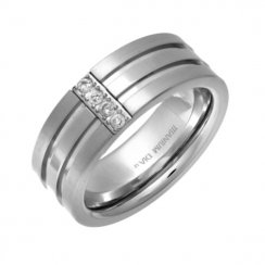 Titanium Mens Ring Set With Four Diamonds .10ct