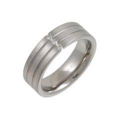 Titanium Mens Ring Set With Three Diamonds .15ct