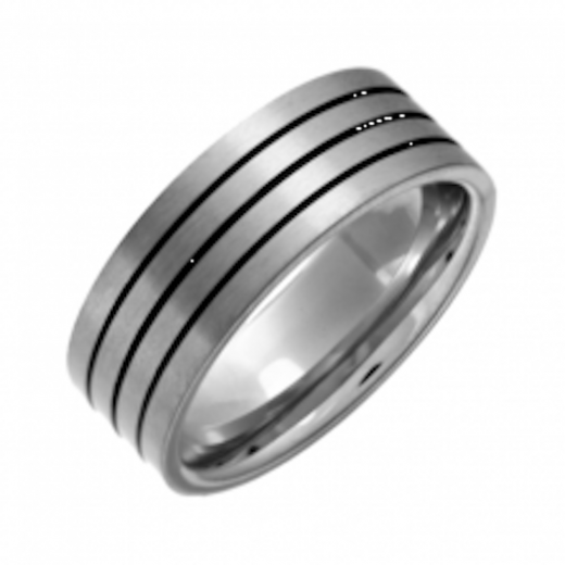 Cherubs Jewellery Titanium Mens Ring With Black Enamel