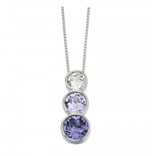 Cherubs Jewellery Triple rubover Swarovski pendant crystal, violet and tanzanite with chain 16-18""