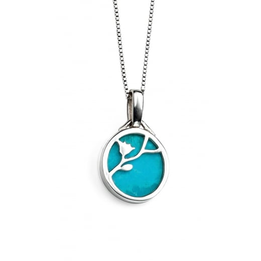 Cherubs Jewellery Turquoise Flower Pattern Silver Disc Pendant With Chain