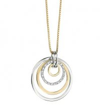 Two Tone Sunrise Diamond Pendant