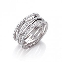 Wavy and Straight CZ Ring Full Set