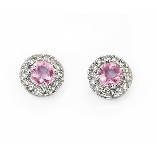 Cherubs Jewellery white gold pink sapphire & diamond cluster stud earrings