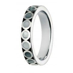 White Mother of Pearl Inlay Silver Ring