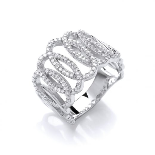 Cherubs Jewellery Wide Intertwined Open Oval Design Silver Cubic Zirconia Ring