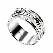 Wide Polished Silver Crossover Ring