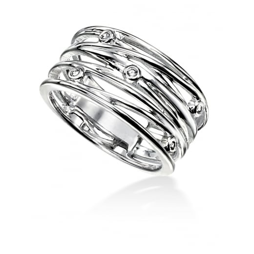 Cherubs Jewellery Wide Wrapped Wire Open Ring With CZ Stones