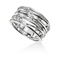 Wide Wrapped Wire Open Ring With CZ Stones
