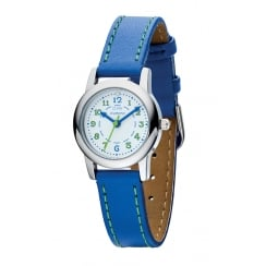 Diamond Set Boys Blue Quartz Watch With Genuine Leather Strap