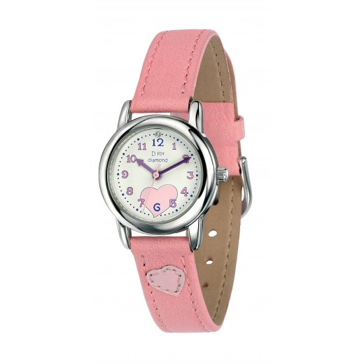 D for diamond Diamond Set Girls Pink Quartz Watch With Genuine Leather Strap