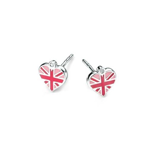 D for diamond Diamond set girls silver union jack heart enamel earrings
