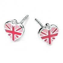 Diamond set girls silver union jack heart enamel earrings