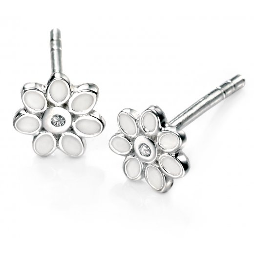 D for diamond Diamond Set Silver flower stud earrings