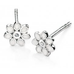 Diamond Set Silver flower stud earrings