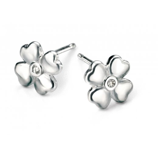 D for diamond Diamond set silver four leaf clover stud earrings