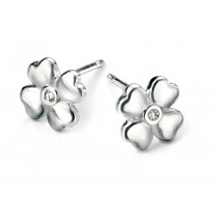 Diamond set silver four leaf clover stud earrings