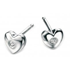 Diamond set silver girls heart earrings