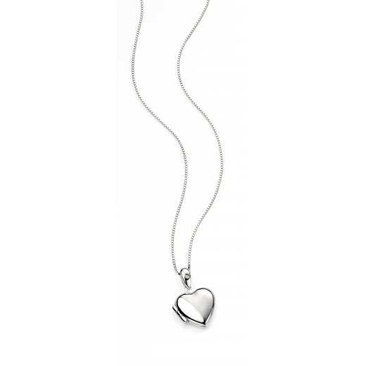 D for diamond Diamond set silver heart opening locket with chain 35cm/14""