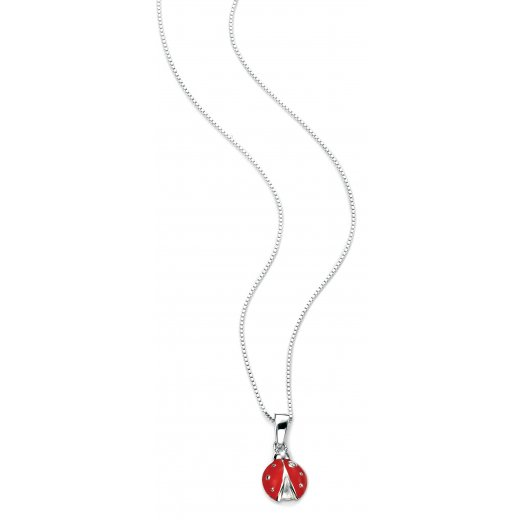 "D for diamond Diamond set silver ladybird pendant with 35cm/14"" chain"