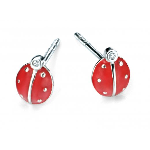 D for diamond Diamond set silver ladybird stud earrings with red enamel