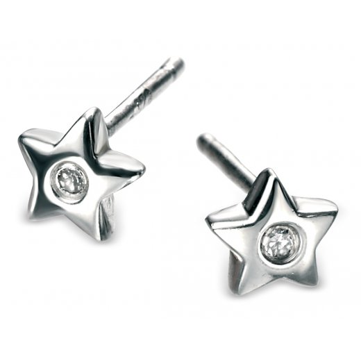 D for diamond Diamond set silver star earrings