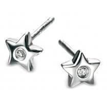 Diamond set silver star earrings