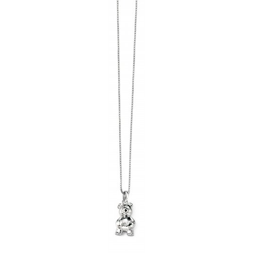 D for diamond Diamond set silver teddy bear pendant with silver chain 36-41cm/14-16""