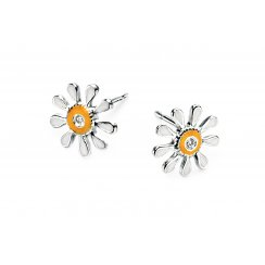 Diamond set silver with enamel daisy earrings