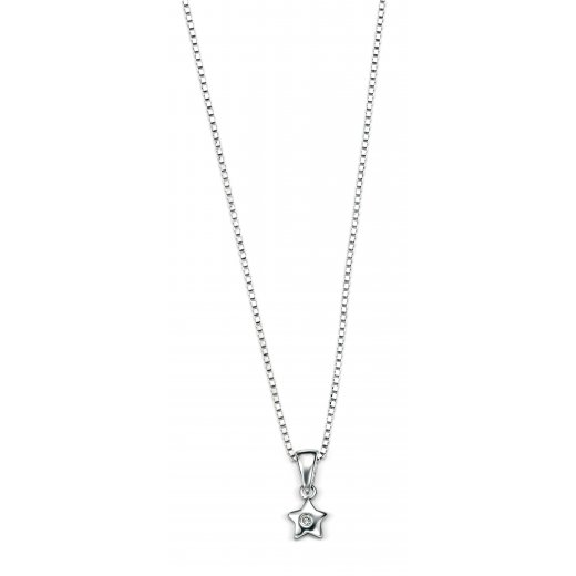 D for diamond Diamond set star pendant with silver chain 35cm/14""