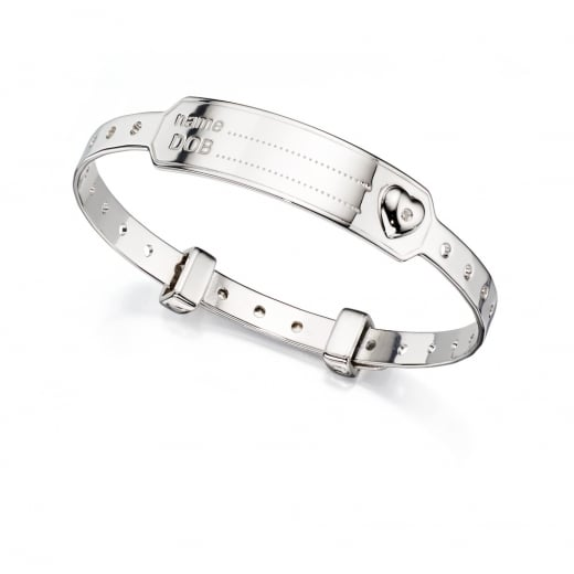 D for diamond Made For Mum Adjustable Silver Bangle