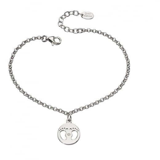 D for diamond Made For Mum Baby Feet Bracelet