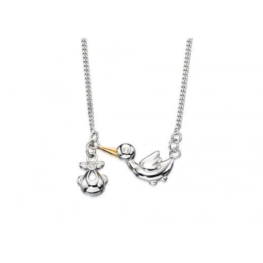 D for diamond Made For Mum Diamond Stork With Baby Pendant