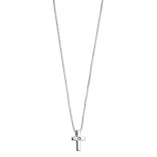 D for diamond SILVER CROSS WITH ONE DIAMOND