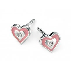 Silver diamond set pink enamel heart earrings for girls