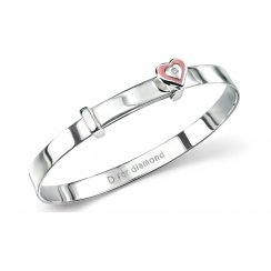 Silver pink enamel heart baby bangle with diamond set