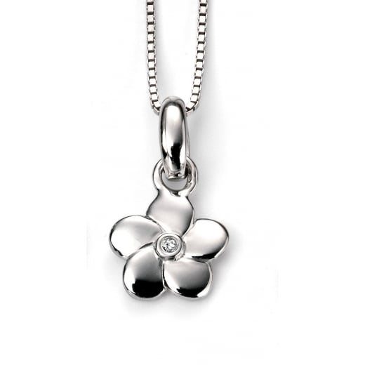 D for diamond Sterling Silver Diamond Set Flower Girls Pendant