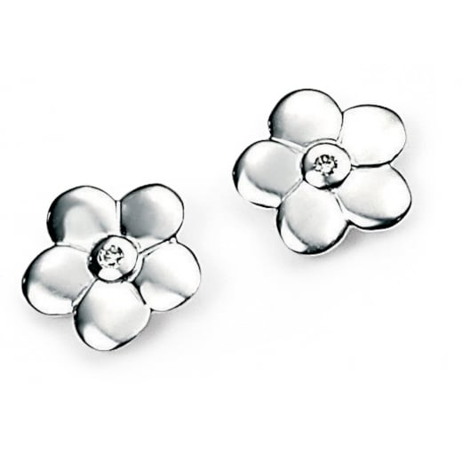 D for diamond Sterling Silver Diamond Set Flower Girls Stud Earrings