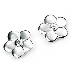 Sterling Silver Diamond Set Flower Girls Stud Earrings