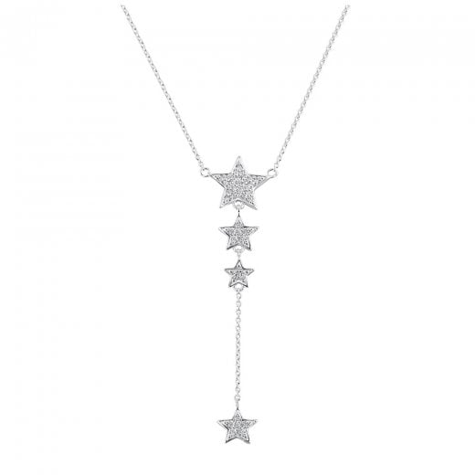 Dew CZ Twinkling Star Lariat Necklace