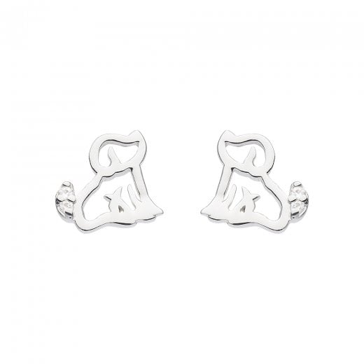 Dew Dinky Dog With CZ Stud Earrings
