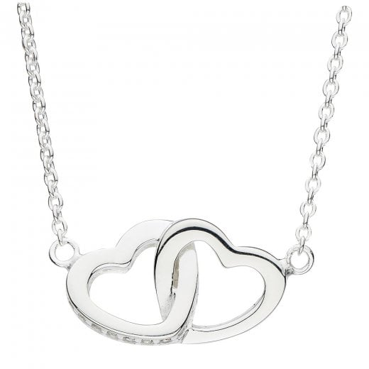 Dew Double Linked Heart Necklace With CZ