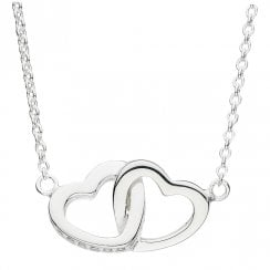Double Linked Heart Necklace With CZ