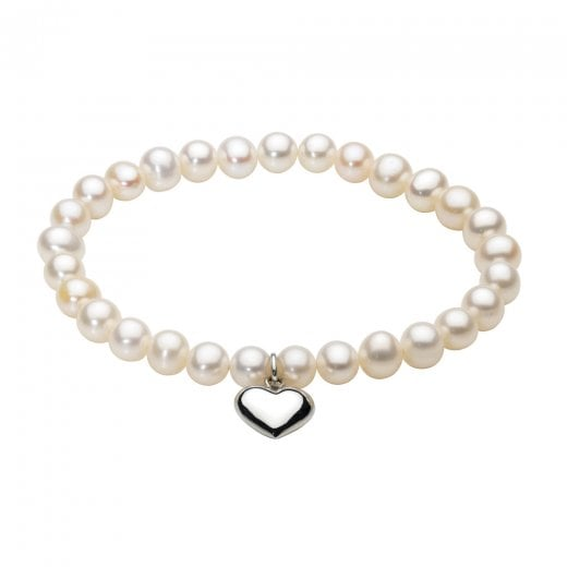 Dew Freshwater Pearl Bracelet With Puff Heart Charm