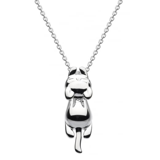 Dew Playful Cat Pendant Clinging Onto Chain