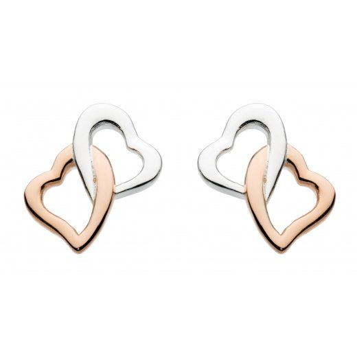 Dew Rose Gold Plate Interlocking Heart Stud Earrings
